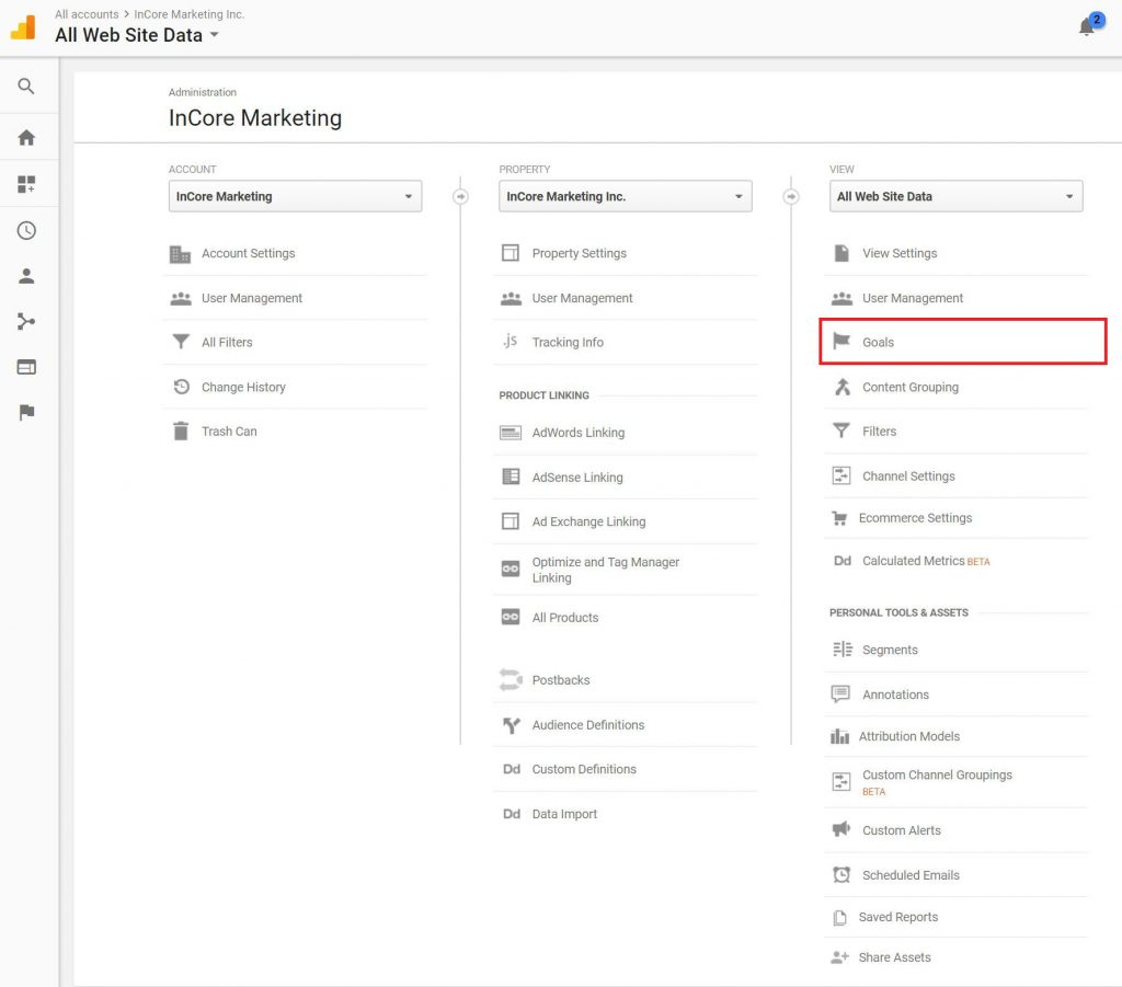 Setup Goals in Google Analytics - InCore Marketing